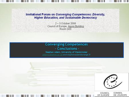 Converging Competences - Conclusions - Stephen Adam, University of Westminster and