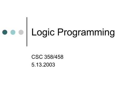 Logic Programming CSC 358/458 5.13.2003. Outline Pattern matching Unification Logic programming.