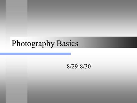 Photography Basics 8/29-8/30. Did you know? The first digital camera was created in 1994? How much do you think it would have costed to purchase a digital.