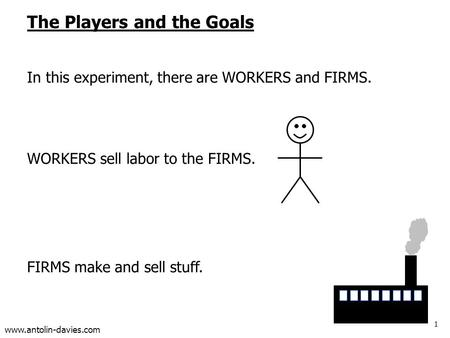 1 www.antolin-davies.com The Players and the Goals In this experiment, there are WORKERS and FIRMS. WORKERS sell labor to the FIRMS. FIRMS make and sell.