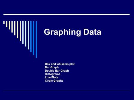 Graphing Data Box and whiskers plot Bar Graph Double Bar Graph Histograms Line Plots Circle Graphs.
