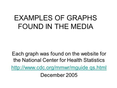 EXAMPLES OF GRAPHS FOUND IN THE MEDIA Each graph was found on the website for the National Center for Health Statistics
