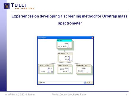 Experiences on developing a screening method for Orbitrap mass spectrometer 11. NPRW 1.-2.6.2015, TallinnFinnish Custom Lab., Pekka Ravio1.