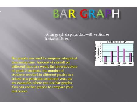 -A bar graph displays date with vertical or horizontal lines. Bar Graph Bar graphs are used to compare categorical data using bars. Amount of rainfall.