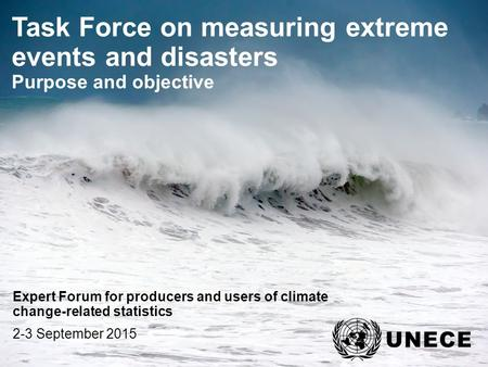 . Task Force on measuring extreme events and disasters Purpose and objective Expert Forum for producers and users of climate change-related statistics.