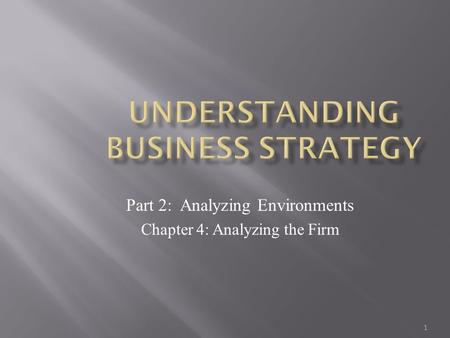 1 Part 2: Analyzing Environments Chapter 4: Analyzing the Firm.
