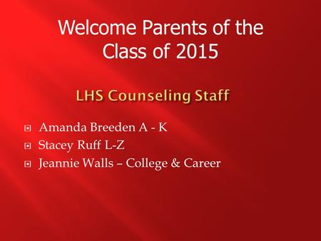 Welcome Parents of the Class of 2015  Amanda Breeden A - K  Stacey Ruff L-Z  Jeannie Walls – College & Career.