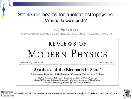 ESF Workshop on The future of stable beams in Nuclear Astrophysics, Athens, Dec. 14-15, 2007 Stable ion beams for nuclear astrophysics: Where do we stand.