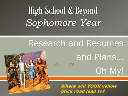  Research and Resumes and Plans… Oh My! Where will YOUR yellow brick road lead to?