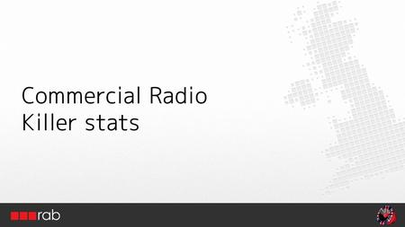 Commercial Radio Killer stats. 89% listen to radio every week for 21hrs.