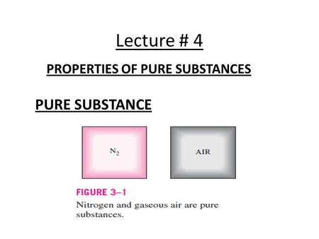 Lecture # 4 PROPERTIES OF PURE SUBSTANCES PURE SUBSTANCE.