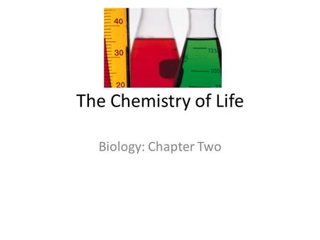 The Chemistry of Life Biology: Chapter Two. Atoms An atom is the smallest unit of matter that cannot be broken down by chemical means Consists of 3 particles.
