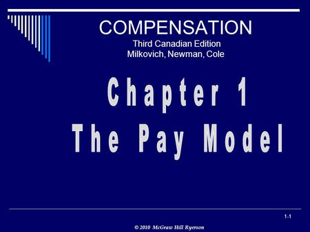 © 2010 McGraw Hill Ryerson 1-1 COMPENSATION Third Canadian Edition Milkovich, Newman, Cole.