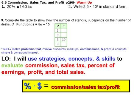 6.6 Commission, Sales Tax, and Profit p298- Warm Up 1. 20% of 60 is 2. W rite 2.5 × 10 4 in standard form. * NS1.7 Solve problems that involve discounts,