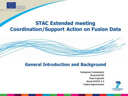 STAC Extended meeting Coordination/Support Action on Fusion Data General Introduction and Background European Commission Research DG Yvan Capouet Head.