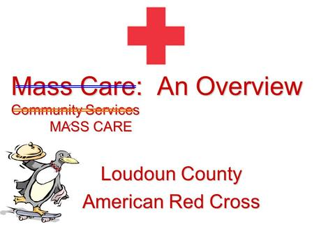 Mass Care: An Overview Community Services MASS CARE Loudoun County American Red Cross  