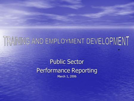 Public Sector Performance Reporting March 1, 2006.