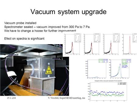 15.1.2041V. Vorobel, SuperNEMO meeting, Aussois Vacuum system upgrade Vacuum probe installed Spectrometer sealed – vacuum improved from 300 Pa to 7 Pa.