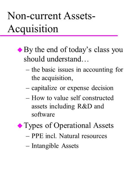 Non-current Assets- Acquisition u By the end of today's class you should understand… –the basic issues in accounting for the acquisition, –capitalize or.