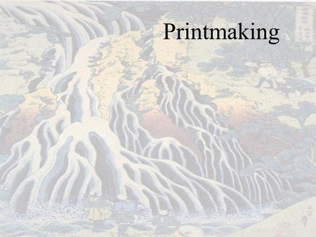 Printmaking. Printmaking is the process of making artworks by printing, normally on paper. The process is capable of producing multiple copies of the.