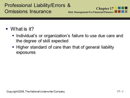 17 - 1Copyright 2008, The National Underwriter Company Professional Liability/Errors & Omissions Insurance  What is it?  Individual's or organization's.