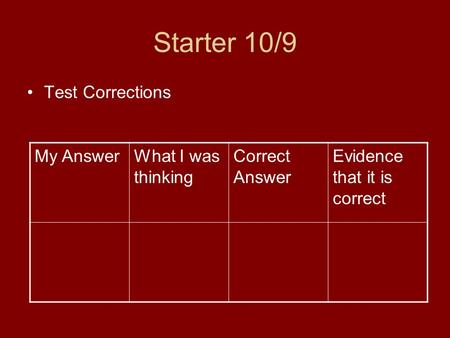 Starter 10/9 Test Corrections My AnswerWhat I was thinking Correct Answer Evidence that it is correct.
