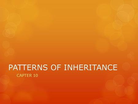 PATTERNS OF INHERITANCE CAPTER 10. Pre-Mendel's Theories  Blending Hypothesis: when parents with different traits have offspring, this will always show.