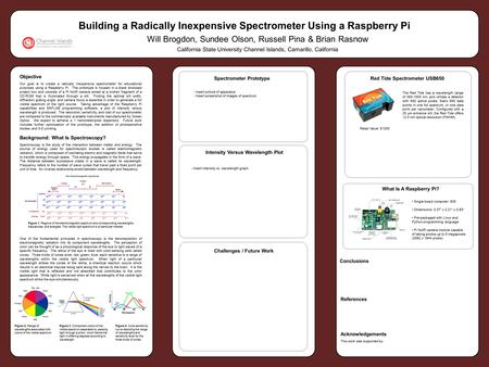 Objective Our goal is to create a radically inexpensive spectrometer for educational purposes using a Raspberry Pi. The prototype is housed in a black.