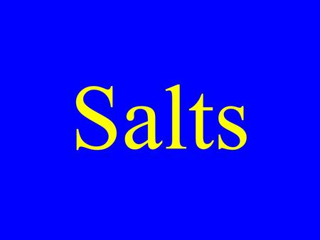 Salts. Salt Solutions The salts of weak acids can recombine with water producing basic solutions.