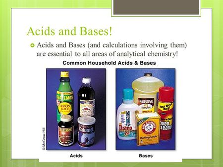 Acids and Bases!  Acids and Bases (and calculations involving them) are essential to all areas of analytical chemistry!