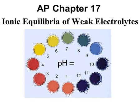 AP Chapter 17 Ionic Equilibria of Weak Electrolytes.