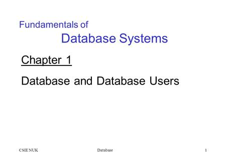 DatabaseCSIE NUK1 Fundamentals of Database Systems Chapter 1 Database and Database Users.