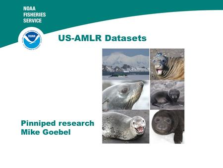 "US-AMLR Datasets Pinniped research Mike Goebel. CCAMLR Ecosystem Monitoring Program ""detect and record significant changes in critical components of the."