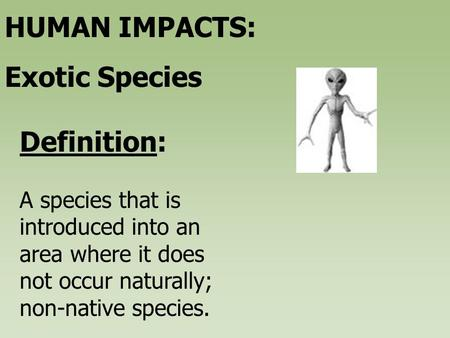 A species that is introduced into an area where it does not occur naturally; non-native species. Definition: HUMAN IMPACTS: Exotic Species.