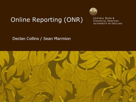 Online Reporting (ONR) Declan Collins / Sean Marmion.