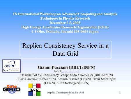 Replica Consistency in a Data Grid1 IX International Workshop on Advanced Computing and Analysis Techniques in Physics Research December 1-5, 2003 High.