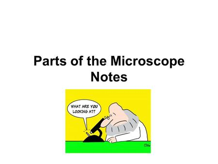 Parts of the Microscope Notes. Arm: This part supports the entire upper portion of the microscope.