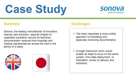 Case Study SummaryChallenges Sonova, the leading manufacturer of innovative hearing care solutions, required English to Japanese translation service for.