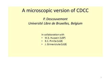 1 A microscopic version of CDCC P. Descouvemont Université Libre de Bruxelles, Belgium In collaboration with M.S. Hussein (USP) E.C. Pinilla (ULB) J. Grineviciute.