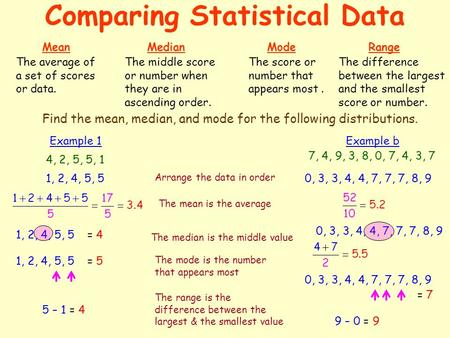 Comparing Statistical Data MeanMedianMode The average of a set of scores or data. The middle score or number when they are in ascending order. The score.
