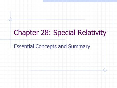 Chapter 28: Special Relativity Essential Concepts and Summary.