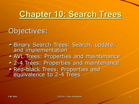 Fall 2006 CSC311: Data Structures 1 Chapter 10: Search Trees Objectives: Binary Search Trees: Search, update, and implementation AVL Trees: Properties.