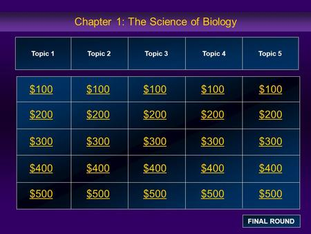 Chapter 1: The Science of Biology $100 $200 $300 $400 $500 $100$100$100 $200 $300 $400 $500 Topic 1Topic 2Topic 3Topic 4 Topic 5 FINAL ROUND.