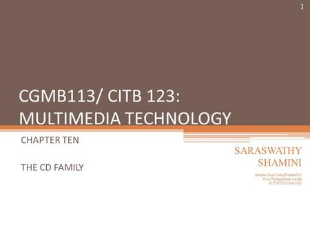 CGMB113/ CITB 123: MULTIMEDIA TECHNOLOGY