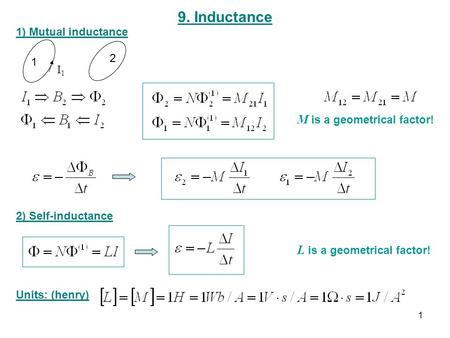 9. Inductance 1) Mutual inductance 1 2 I1I1 2) Self-inductance Units: (henry) M is a geometrical factor! L is a geometrical factor! 1.