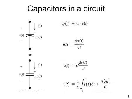 Capacitors in a circuit 1. Example Let's find the current through the following capacitor with v(t)=5 cos(2000  t)V. C = 30  F What if v(t) = 5A? =