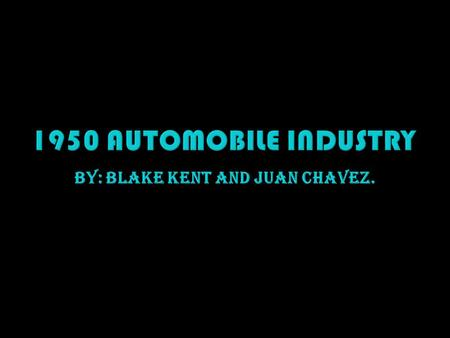 By: Blake Kent and Juan Chavez..  The dominance of the transportation field by the automobile and trucking industries was assured when Congress passed.