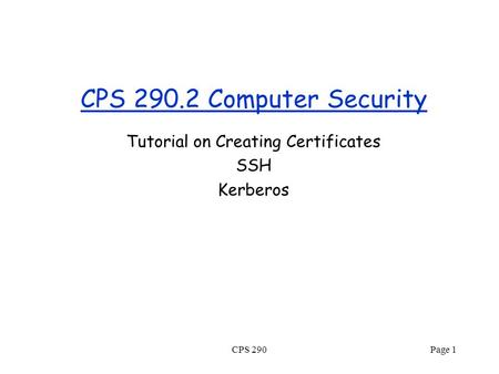 CPS 290.2 Computer Security Tutorial on Creating Certificates SSH Kerberos CPS 290Page 1.