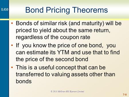 7-0 Bond Pricing Theorems Bonds of similar risk (and maturity) will be priced to yield about the same return, regardless of the coupon rate If you know.
