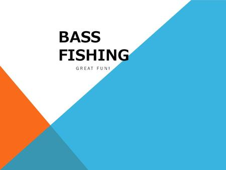 BASS FISHING GREAT FUN!. WHY BASS FISHING? Number 1 fresh water fishing sport 5 Billion dollar industry Anyone can participate.
